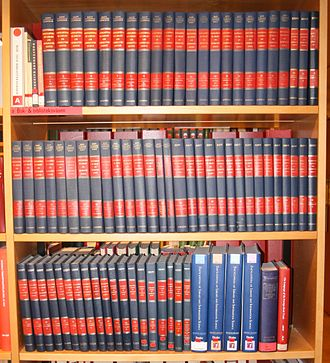 Encyclopedia of Library and Information Sciences - First edition in 73 volumes (1968-2003) and 2nd edition in 4 volumes (2003).