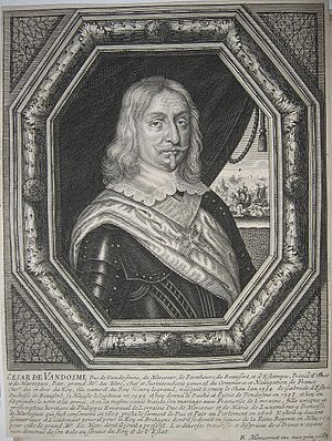 César, Duke of Vendôme - Image: Engraved portrait of César de Bourbon, Duke of Vendôme (1594 1665)
