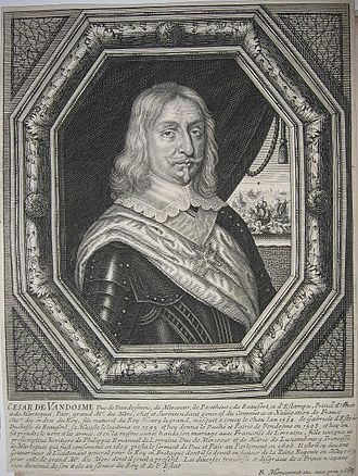 Bourbon-Vendôme - Image: Engraved portrait of César de Bourbon, Duke of Vendôme (1594 1665)