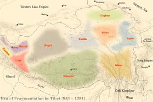 Era of Fragmentation - Map showing major religious regimes during the Era of Fragmentation in Tibet