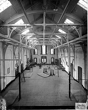 Gym - Interior of a gym in The Netherlands, around 1900