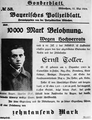 Ernst Toller - 10000 Mark Belohnung wegen Hochverrats, 1919.png