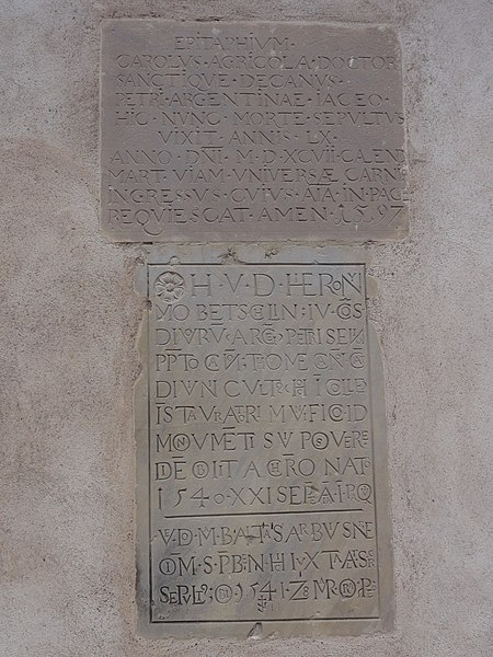 Alsace, Bas-Rhin, Église Saint-Trophime d'Eschau (PA00084707, IA00023089).Monuments sépulcraux encastrés (1597 et 1541):    This object is indexed in the base Palissy, database of the French furniture patrimony of the French ministry of culture,under the referencesIM67000138 and IM67000139.  Brezhoneg| Català| Deutsch| English| Español| Suomi| Français| Magyar| Italiano| Plattdüütsch| Português| +/−