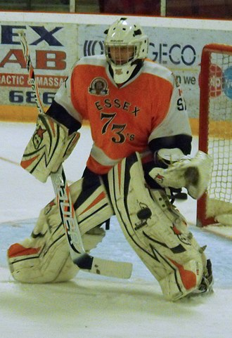 Great Lakes Junior C Hockey League - Essex 73's goalie in 40th anniversary commemorative jersey during 2013 Schmalz Cup finals.
