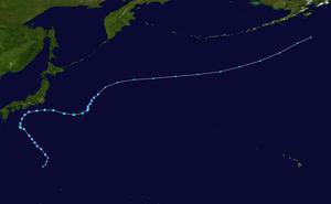Tropical Storm Etau (2009) - Image: Etau 2009 track