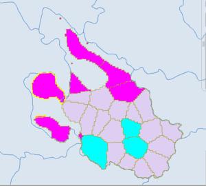 Pingwu County - Purple -Qiang. Red -Tibetan.