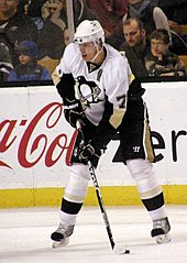 Photograph of Evgeni Malkin holding a hockey stick on the ice