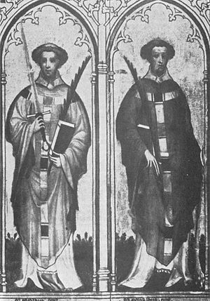 Two Ewalds - Painting of the Ewaldi-Reliquienschrein at the Church St. Kunibert in Cologne of the year 1400