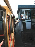 Exchanging tokens, at Pendre signal box - geograph.org.uk - 1415081.jpg