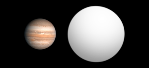 GQ Lupi b - Size comparison of GQ Lupi b with Jupiter.