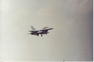 Homestead Air Reserve Base - F-16 on landing approach at Homestead ARB, c. 1996
