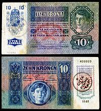 10 Fiume krone foreløpig seddel (1920)