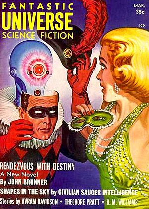 "John Brunner (novelist) - Brunner's novelette ""Rendezvous With Destiny"" was cover-featured on the March 1958 issue of Fantastic Universe"