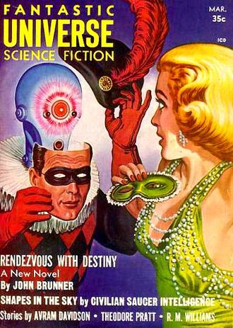 """John Brunner (novelist) - Brunner's novelette """"Rendezvous With Destiny"""" was cover-featured on the March 1958 issue of Fantastic Universe"""