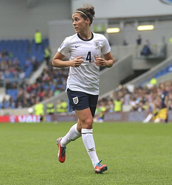 Fara Williams is England's most capped player and second highest goalscorer with 40 goals in 165 appearances since 2001. Fara Williams England Ladies v Montenegro 5 4 2014 377.jpg