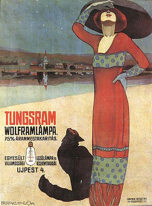 Tungsram - Poster for Tungsram incandescent light bulbs, Hungary, ca. 1910