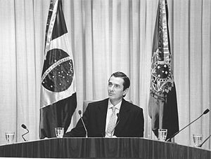 Fernando Collor de Mello - President Fernando Collor during a meeting with ministers and government leaders at the Planalto Palace, 1990.