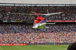 2013–14 Feyenoord season - New players are traditionally flown into De Kuip per helicopter during the open day. This season Steenvoorden, Manu, Sleegers and Van Deelen arrived this way.