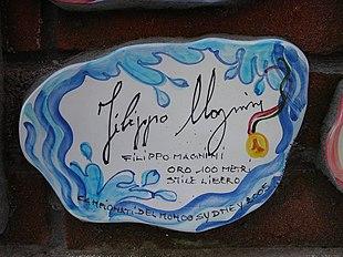 La piastrella del muretto di Alassio autografata da Magnini