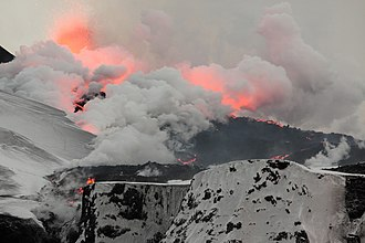 2010 eruptions of Eyjafjallajökull - Second fissure, viewed from the north, on 2 April 2010