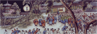 Korea Electric Power Corporation - Korea's first electric light being turned on at Gyeongbokgung in 1887