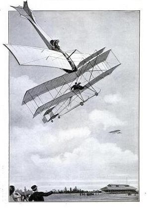Mid-air collision - Contemporary artist's impression of the first mid-air collision, 1910