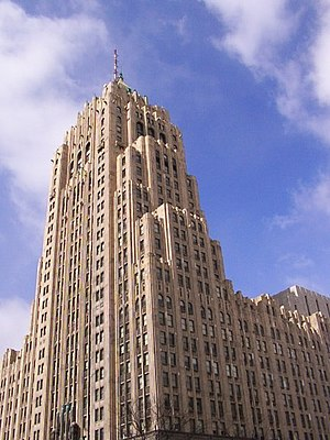 Architecture of metropolitan Detroit - Fisher Building (pictured) across from Cadillac Place are both National Historic Landmarks in the City's New Center area — by Albert Kahn.