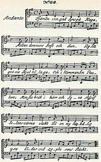 Fjäriln vingad syns på Haga song with lyrics by Carl Michael Bellman