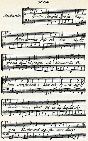 "Fjäriln vingad syns på Haga - Music of Carl Michael Bellman's song ""Fjäril'n vingad syns på Haga"" from Fredman's Songs, 1791"