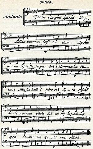 """Fjäriln vingad syns på Haga - Music of Carl Michael Bellman's song """"Fjäril'n vingad syns på Haga"""" from Fredman's Songs, 1791"""