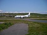 Flybe Saab 340 crossing road at Sumburgh Airport.jpg
