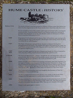 Hume Castle - Plaque at the foot of Hume Castle hill