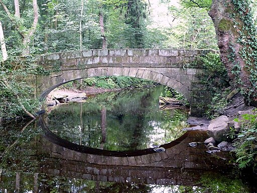 Footbridge reflected in River Rivelin