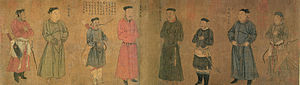 "The ""Four Generals of Zhongxing"" with their four attendants, painted by Liu Songnian (1174–1224); the famous Song Dynasty general Yue Fei is featured as the second person from the left."