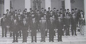 Fourth Development Cabinet - Official photo of Indonesian President Suharto,  Vice-president Umar Wirahadikusumah and the Fourth Development Cabinet