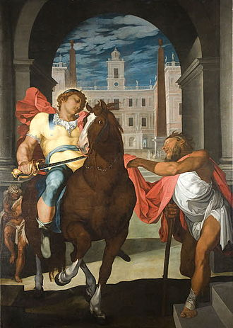 Martin Fréminet - St. Martin sharing his cloak by cutting a piece off to give to the beggar, now in the Louvre