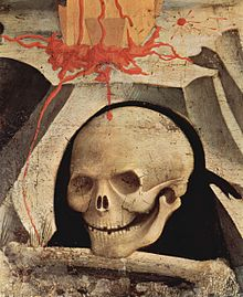 The skull of Adam at the foot of the Cross: detail from a Crucifixion by Fra Angelico, from 1435