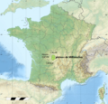 France relief location carte regions et departements mirrored Millevaches.png
