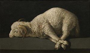 Agnus Dei (Zurbarán) - Agnus Dei, by Francisco de Zurbarán. 38 cm × 62 cm. Oil on canvas. Museo del Prado, Madrid