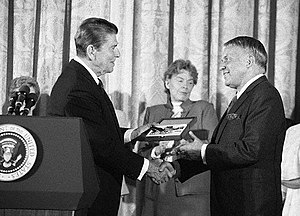 Political life of Frank Sinatra - Sinatra is awarded the Presidential Medal of Freedom by President Ronald Reagan.