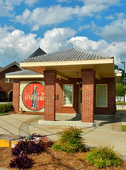 The old Heard County gas station was built in 1938 and features a vintage, hand-painted Coca-Cola advertisement.