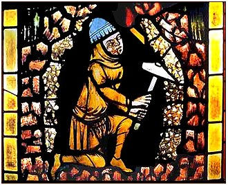 Miner - Freiburg Miner, stained glass window, 1330