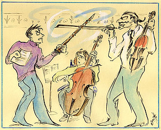 "Chamber musicians at each other, from ""The Short-tempered Clavichord"" by illustrator Robert Bonotto From the Short-tempered Clavichord.jpg"