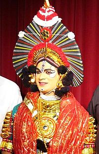 Krishna as depicted in Yakshagana from Karnataka which is based largely on  stories of Mahabharata