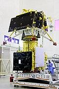 GSLV Mk III M1, Chandrayaan-2 - Vikram lander mounted on top of orbiter.jpg