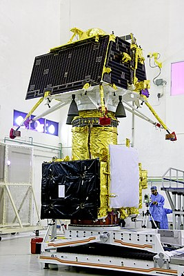 GSLV Mk III M1, Chandrayaan-2 - Vikram lander mounted on top of orbiter.jpg