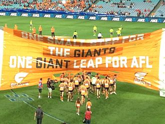 Greater Western Sydney Giants - Banner at the inaugural GWS game against the Sydney Swans