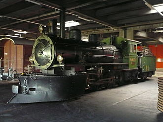 Rhaetian Railway G 4/5 - G 4/5 108 inside Samedan locomotive shed