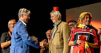 Gerhard Polt - Awarding of honorary prices of the Zelt Musik Festival Freiburg, Germany  2015 by Gernot Erler (MdB)