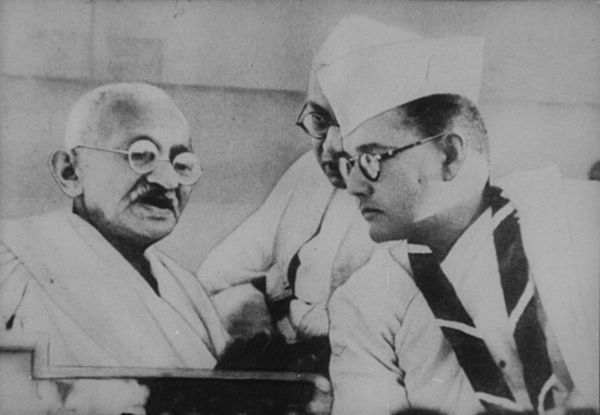 Subhas Bose with Mohandas Gandhi at a Congress meeting, c 1930 Gandhi and Subhas Bose.jpg